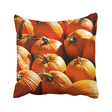 WinHome Vintage Modern Orange Pumpkins Halloween Trick Or Treat Vegetable Pattern Polyester 18 x 18 Inch Square Throw Pillow Covers With Hidden Zipper Home Sofa Cushion Decorative Pillowcases](Halloween Trick Or Treat Scares)
