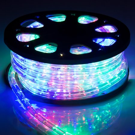 Best Choice Products 50ft Led Plugin Rope Lights For Indoor Outdoor Decorative Lighting W Waterproof Tubing Rainbow