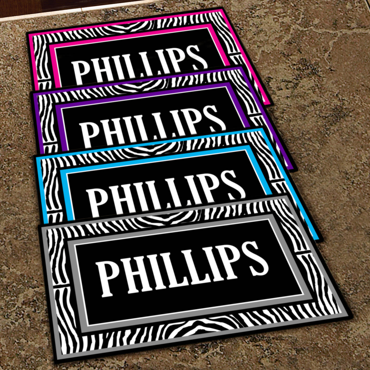 "Personalized Zebra Last Name Doormat, 17"" x 27"""