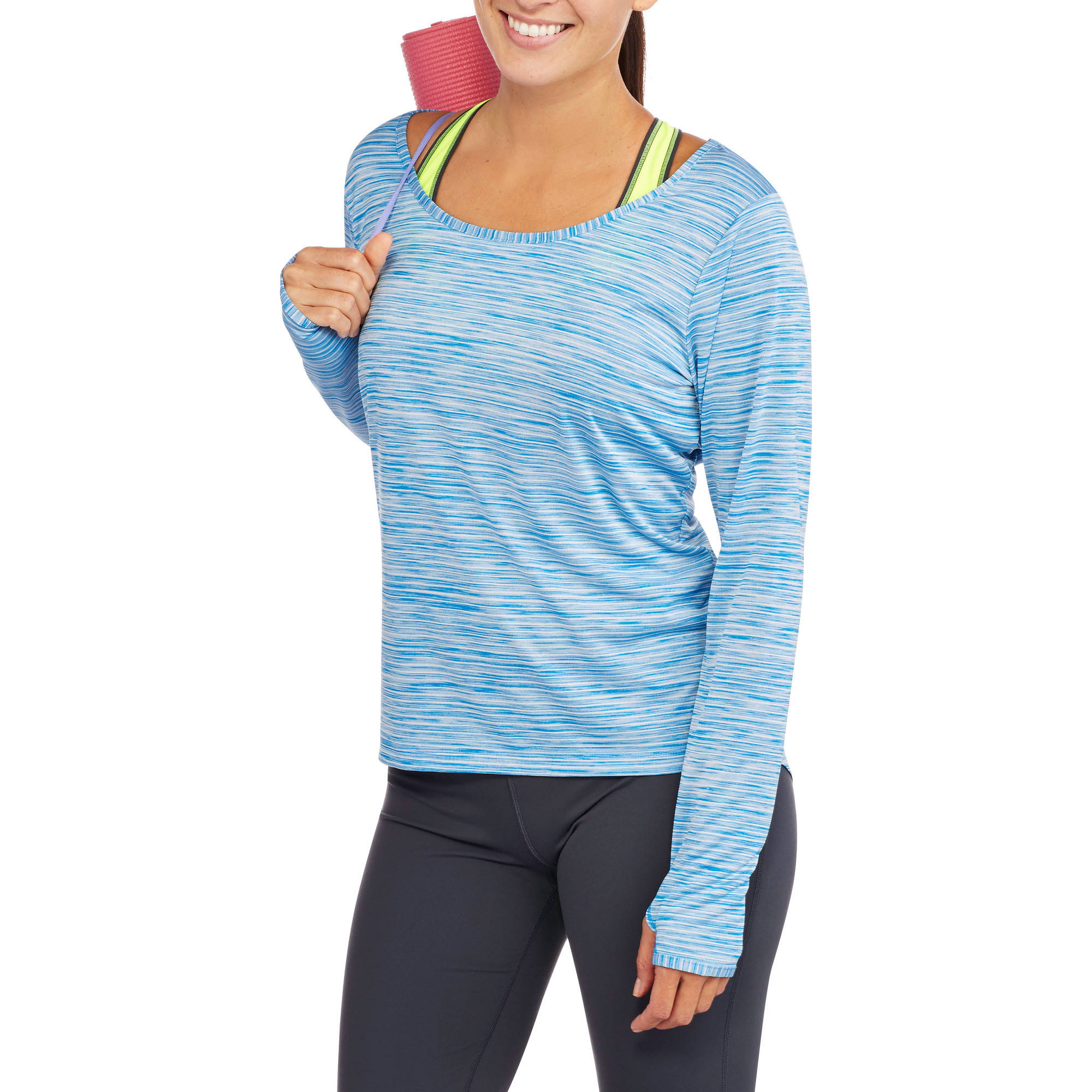 Danskin Now Studio Women's Long Sleeve Tee with Draped Back