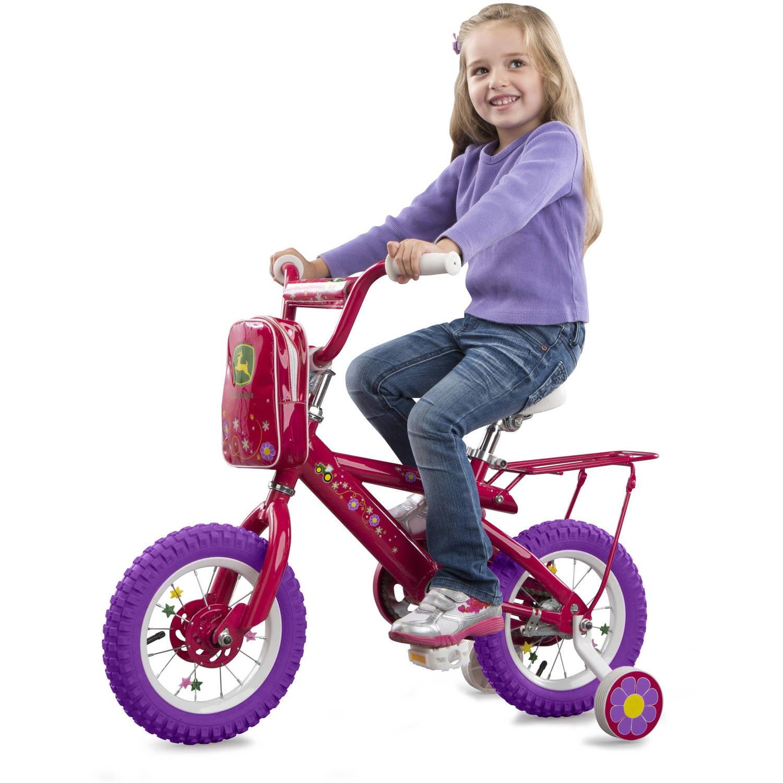 "11eb625cc6d John Deere 12"" Girls Bike, Kids Bike with Training Wheels, Pink -  Walmart.com"
