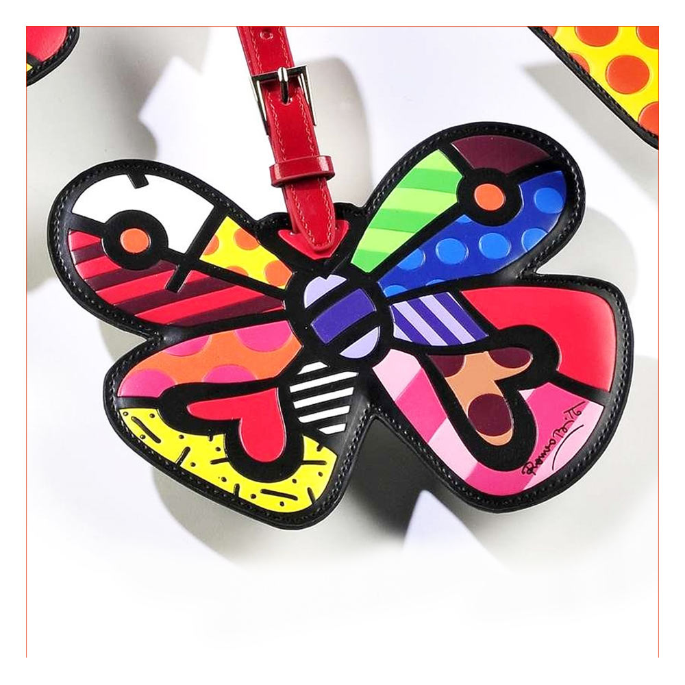 Romero Britto Butterfly Heart Luggage Tag Travel Bag ID Name Suitcase Baggage !!