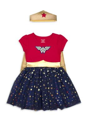 Wonder Woman Costume Tutu Dress with Headband (Toddler Girls)