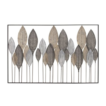 "Metal Large Leaf (DecMode 59""x37"" Large Textured Brown, White, Gray & Black Metal Leaf Wall)"