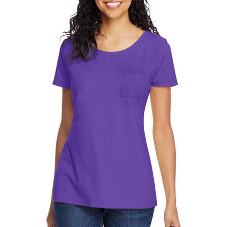Women's Lightweight Short Sleeve Scoopneck Pocket - Xl Girls Ebony