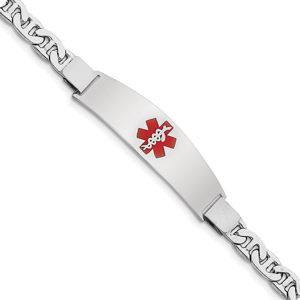 Sterling Silver Engravable 7in Medical ID Anchor Link Bracelet