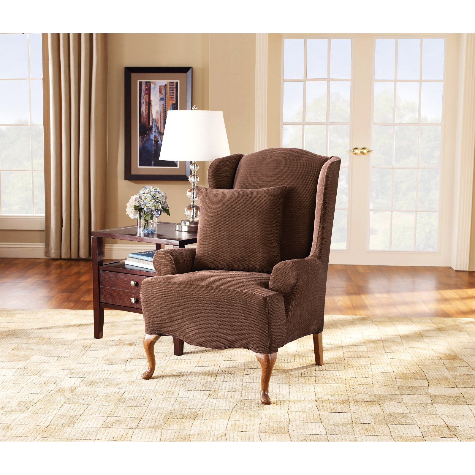 Sure Fit Stretch Pique Wing Chair Slipcover