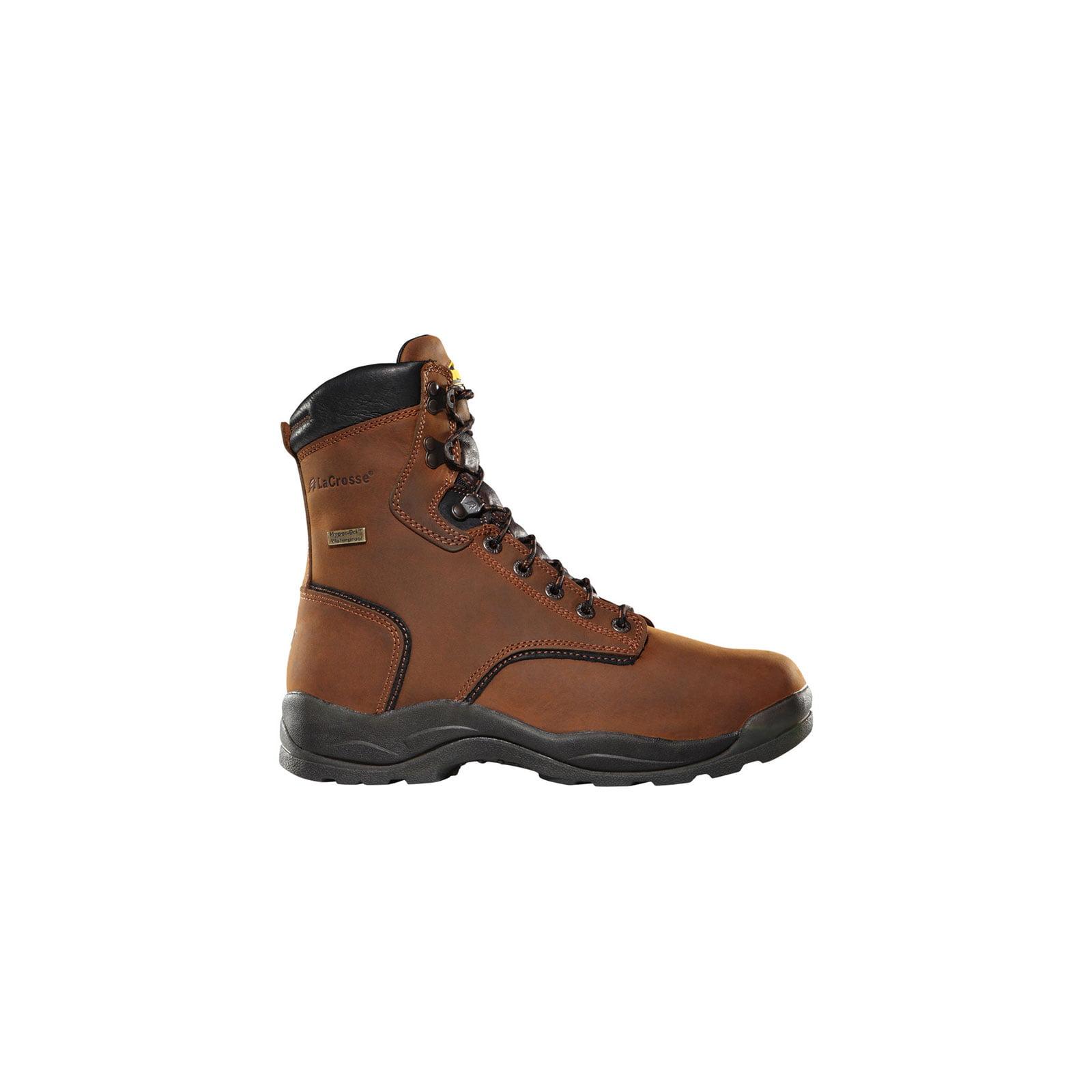 LaCrosse Mens Quad Comfort 4 x 8 Dry Core Steel Toe Brown...