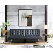 Tufted Split Back Futon Sofa by Naomi Home-Color:Cream,Style:Linen