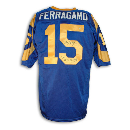 """NFL - Vince Ferragamo Los Angeles Rams Autographed Throwback Jersey Inscribed """"79 NFC Champs"""""""