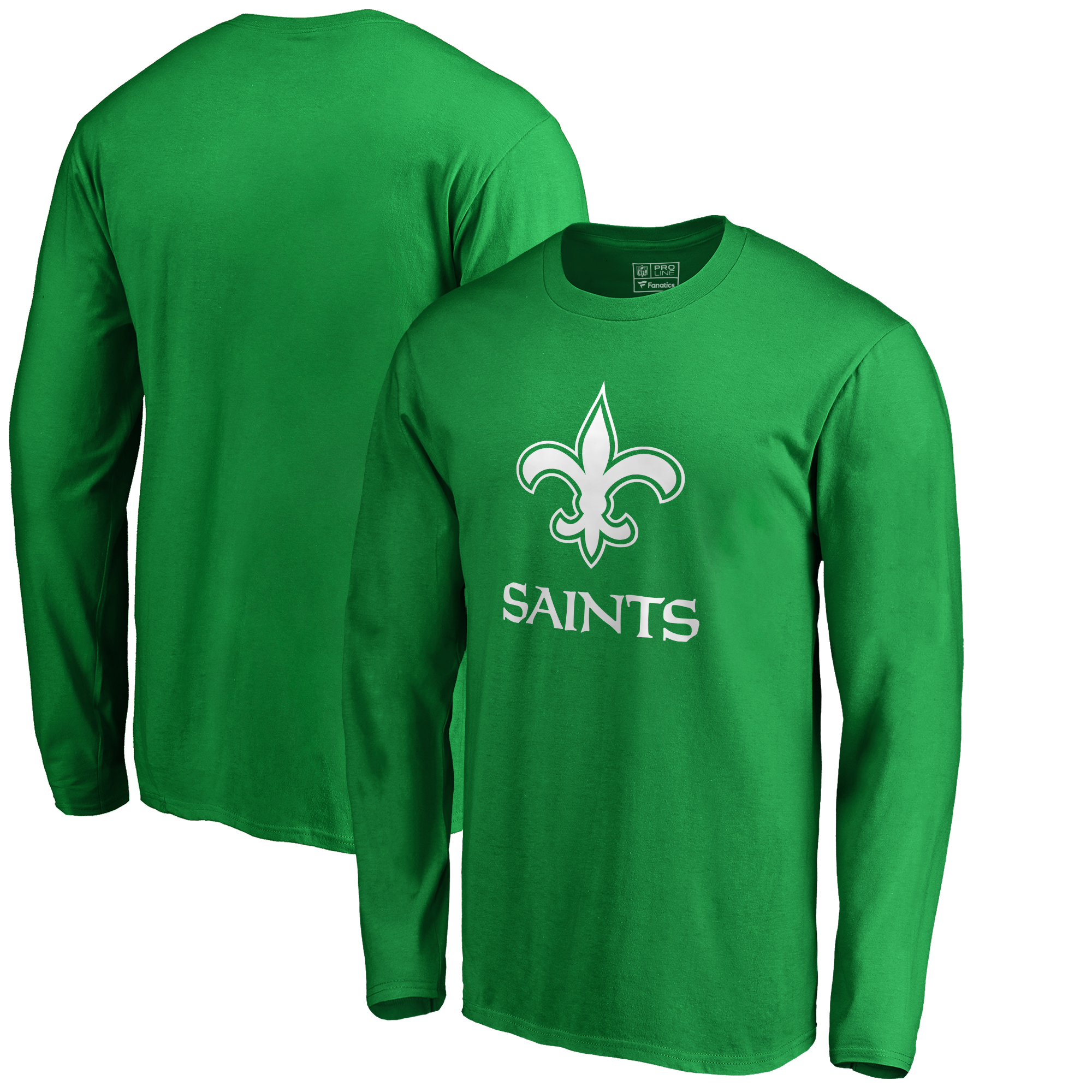New Orleans Saints NFL Pro Line by Fanatics Branded St. Patrick's Day White Logo Long Sleeve T-Shirt - Kelly Green