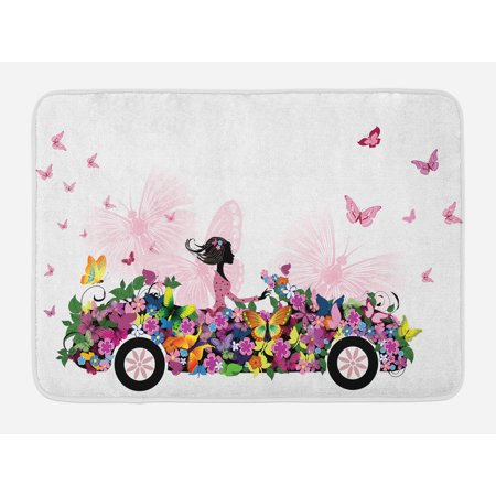 Cars Bath Mat, Woman Driving A Floral Car with Butterflies in the Air Female on the Road Girls Theme, Non-Slip Plush Mat Bathroom Kitchen Laundry Room Decor, 29.5 X 17.5 - Kitchen Theme Decor