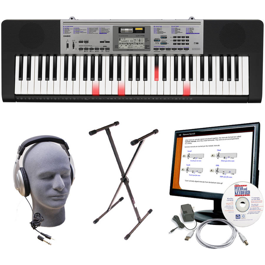 Casio LK-175 Lighted Key Premium Keyboard Pack with Samson HP30 Headphones, Stand, Power Supply, 6' USB Cable and eMedia Instruction Software