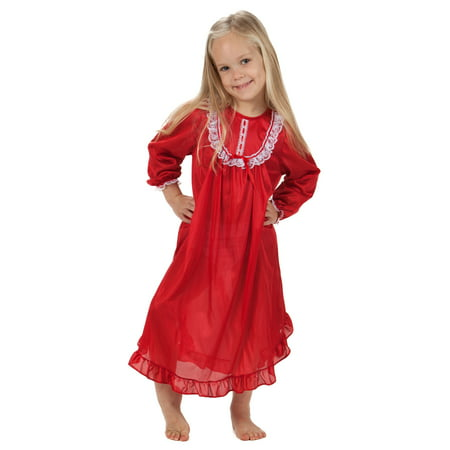 Solid Colors Long Sleeve Traditional Nightgown for Girls, 4 - 14
