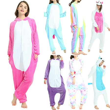 Womens Velvet Printed Onesie Hooded Footed Jumpsuit Pajamas Sleepwear Fleece Animal Cute for Ladies
