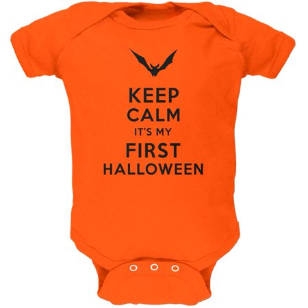 Halloween - Keep Calm My First Halloween Orange Soft Baby One Piece](Baby First Halloween)