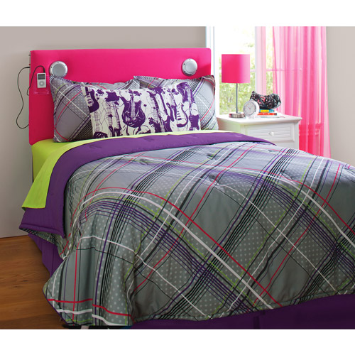 your zone plaid reversible bedding set with statement pillowcase