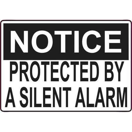 5in x 3.5in Protected By A Silent Alarm Sticker Vinyl Window Sign Stickers ()