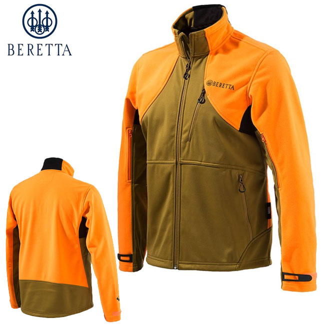 Beretta Soft Shell Fleece Jacket (M)- Light Brown/Orange