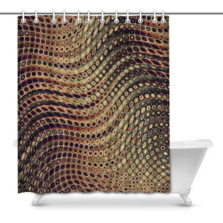 MKHERT Abstract Geometrical Wavy Fractal Digital Art Home Decor Waterproof Polyester Bathroom Shower Curtain Bath Decorations 66x72 inch