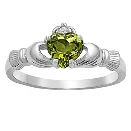 Liaden: 0.765ct Heart cut Simulated Peridot Ice CZ Claddagh Ring Sterling Silver sz 9.0