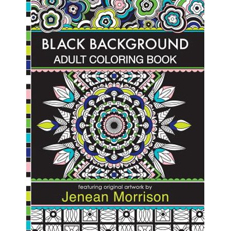 Black Background Adult Coloring Book 60 Coloring Pages Featuring