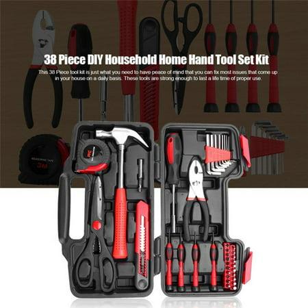 HURRISE 38 Piece DIY Household Home Hand Tool Set Kit Box Hammer Pliers