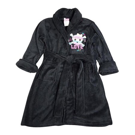 Sweet n Sassy - Little Girls Soft Plush Cozy Robe Black / 4-6Years - Kids Black Robe