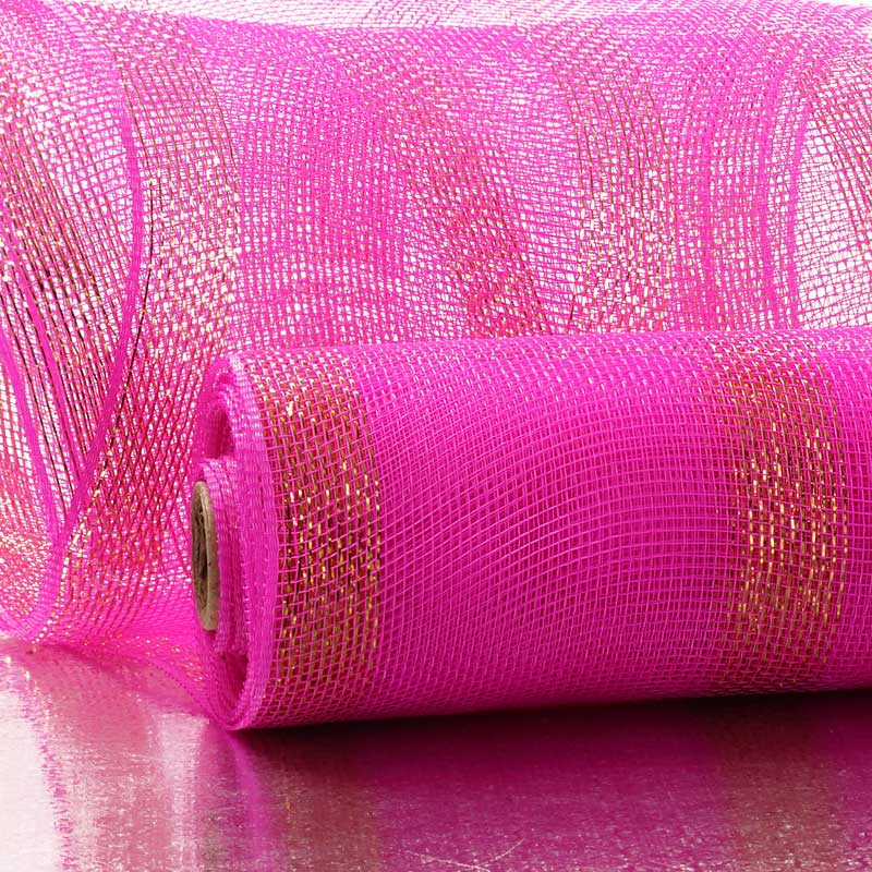 "10"" X 10 Yards Hot Pink Deco Mesh W/Wide Metallic Stripe by Paper Mart"