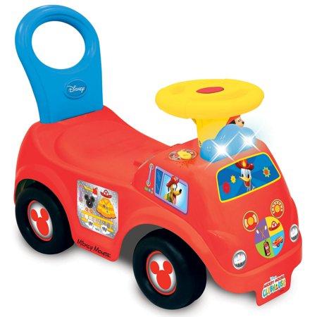 Kiddieland Light n' Sound Mickey Activity Fire Engine Kid Toy Car, Red   050815