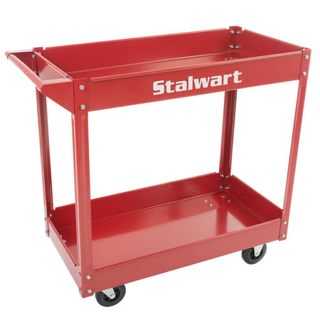 - Metal Service Utility Cart, Heavy Duty Supply Cart with Two Storage Tray Shelves- 330 lbs Capacity By Stalwart (Red)