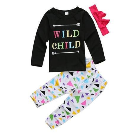 Little Girls Long Sleeve Wild Child T-Shirt And Pants + Headband 3pcs - Wild West Outfits