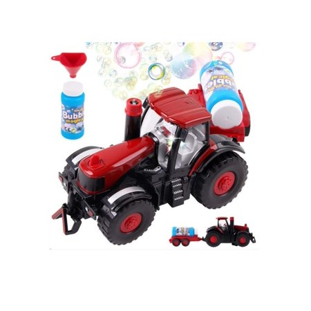 Bubble Farm Tractor Truck Toy Bump & Go Bubble Blowing Tractor Truck Carrying Trailer Battery Operated w/ Music And Flashing Lights , Farmer Car Toy , Christmas -