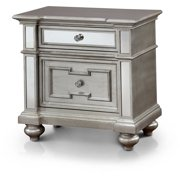 Furniture of America Elissa Mirror Panel Nightstand, Silver