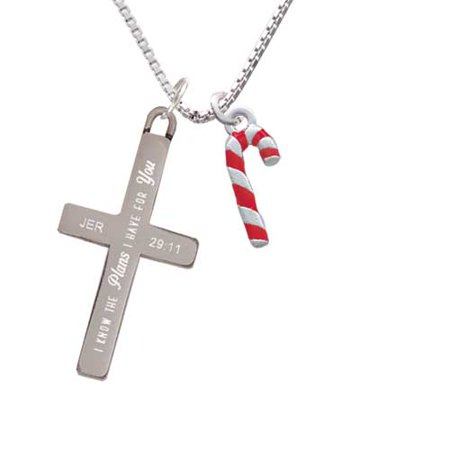 3-D Red and Candy Cane - Plans I Have for You - Cross Necklace