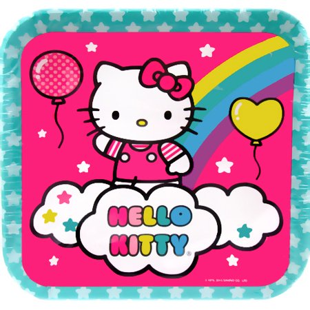 Hello Kitty 'Balloon Rainbow' Large Square Paper Plates - Hello Kitty Party Supplies Party City