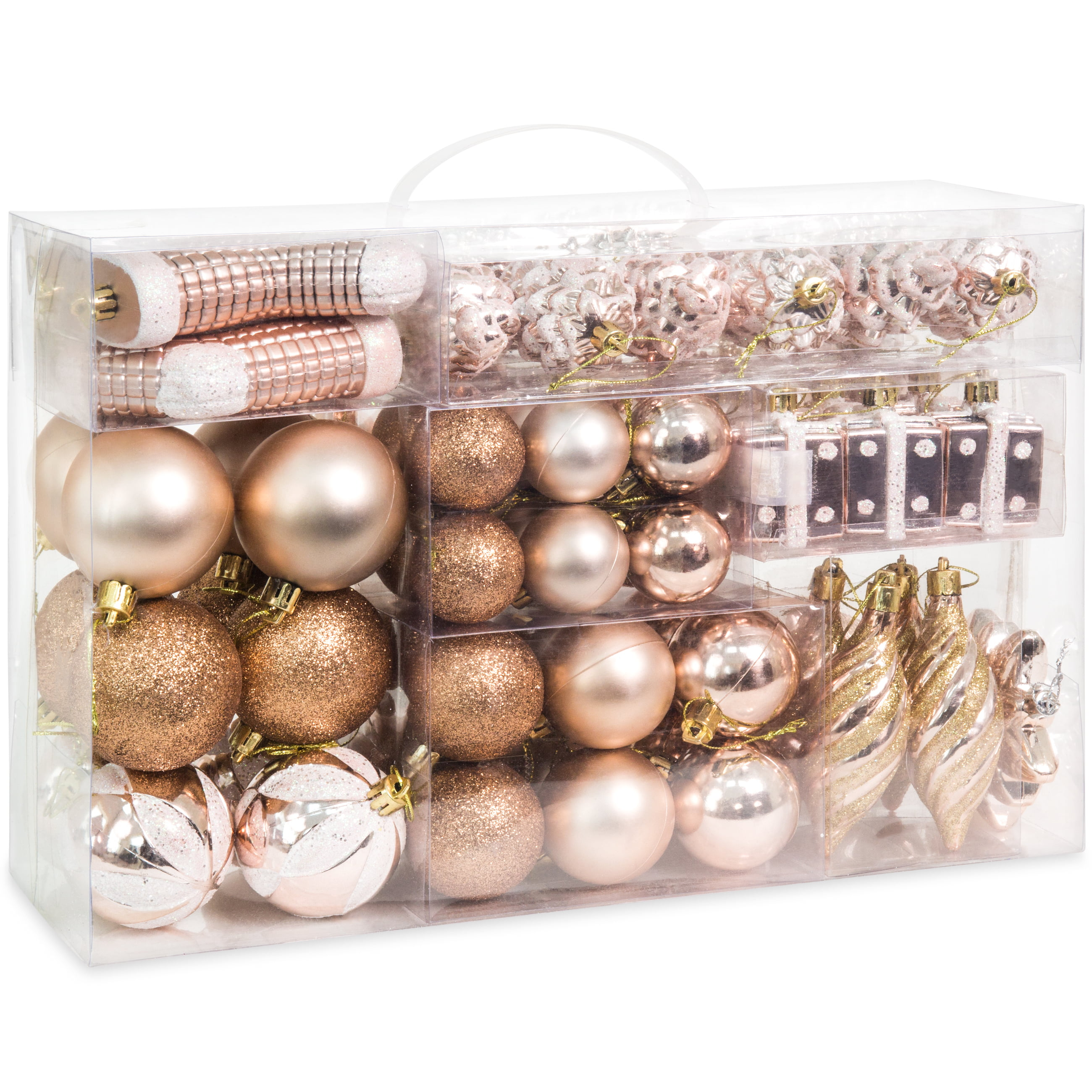 Best Choice Products Set Of 72 Handcrafted Shatterproof Hanging Christmas Ornaments W Glitter Design Rose Gold Walmart Com Walmart Com
