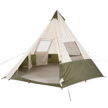 ozark trail 7 person teepee tent without center pole obstruction