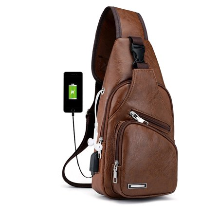 Men's Leather Sling Bag, EEEkit Chest Shoulder Backpack, Water waterproof Crossbody Bag with USB Charging Port for Travel, Hiking, Cycling, Black/Brown