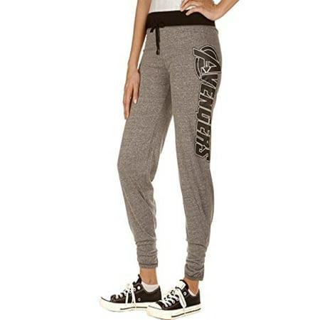 Marvel The Avengers Logo Women's Juniors Fit Jogger Leggings Yoga Lounge Pants Grey-Black (Small) for $<!---->