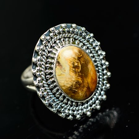 Peanut Wood Jasper Ring Size 7.5 (925 Sterling Silver)  - Handmade Boho Vintage Jewelry RING936357 (Ana Silver Co Jasper Ring)