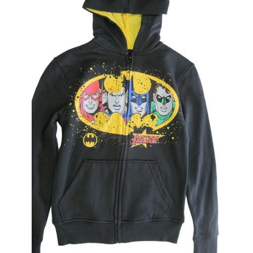 Justice League Boys Black Superheroes Print Zipper Hooded Shirt 8-20