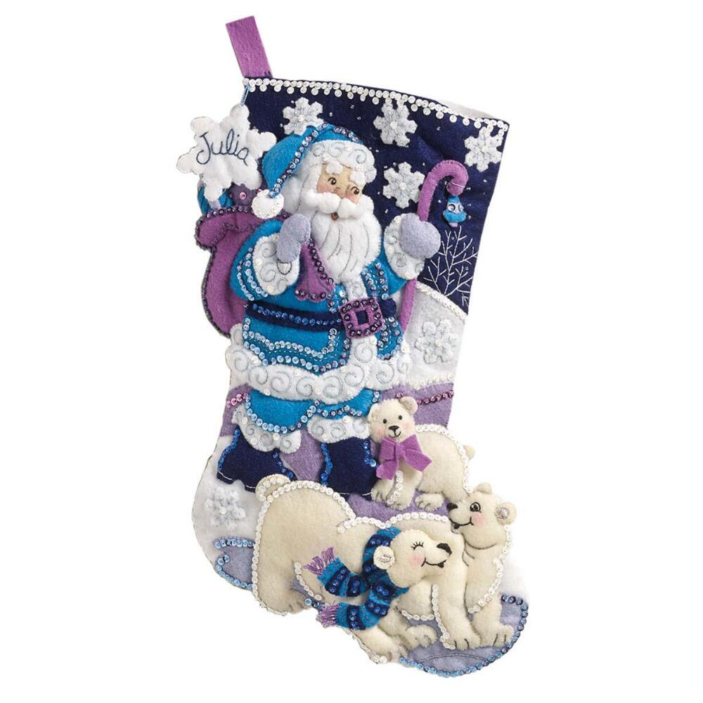 Bucilla Artic Santa Stocking Felt & Sequin Kit