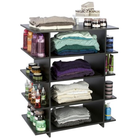 Wood Retail Shelf Unit, Open Sides, 12 Storage Areas, 42