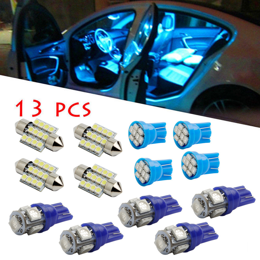 DZT1968 13Pc LED Lights Interior Package Kit Pure Blue For Dome License Plate Lamp Bulb