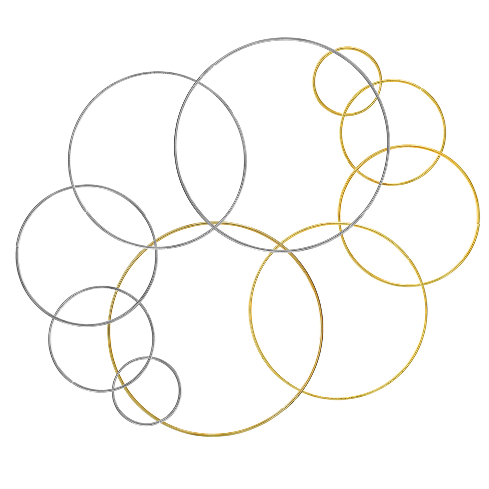 Paracord Planet - Bulk of 11 Assorted Size (2 Inch, 3 Inch, 4 Inch, 5 Inch, 6 Inch) Metal Hoops - Gold, Silver, and Iron - Dreamcatchers and Macrame
