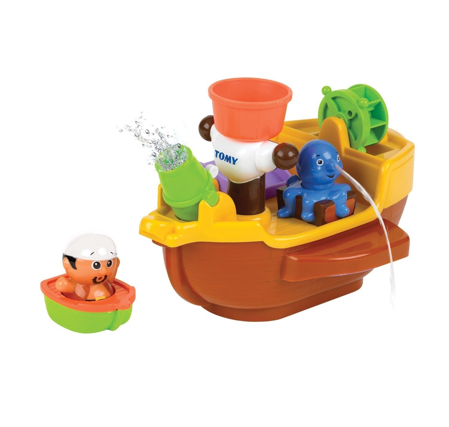 Bath Pirate Ship Bath Toy, Water Cannon Wall Paddle Aquafun Fountain ...
