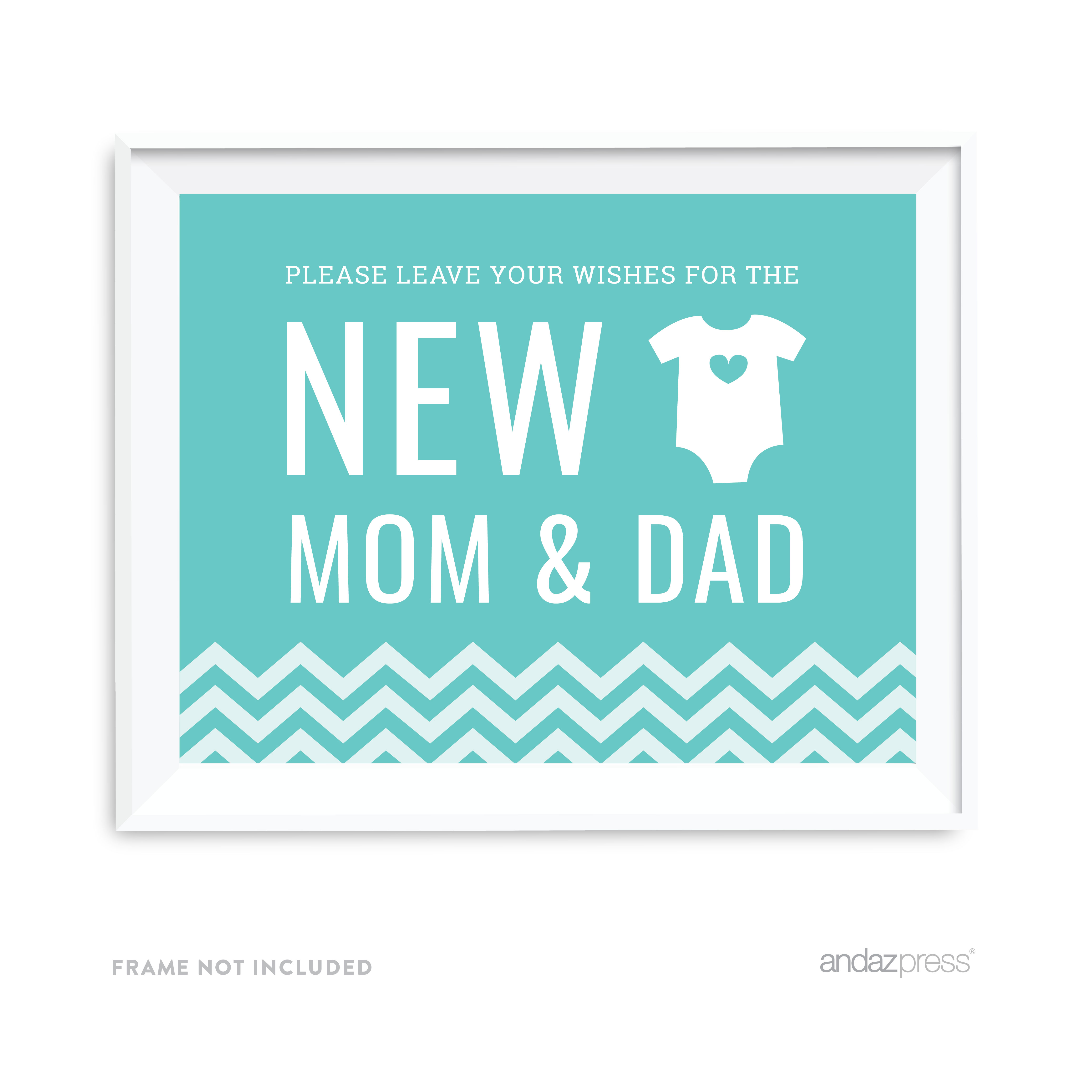 Leave Wishes For New Mom & Dad Diamond Blue Chevron Print Baby Shower Party Signs