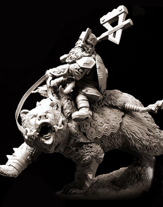 Pegaso Models 54mm Dawrf on Bear White Metal Figure Kit #FA54-502