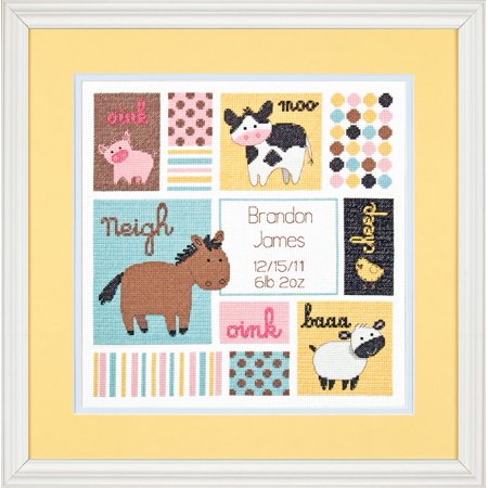 "Dimensions Baby Hugs ""Barn Babies"" Birth Record Counted Cross Stitch Kit, 12"" x 12"" 14ct"